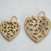 Καρδιά ξύλινη χρυσή